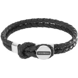 Emporio Armani Mens Black Leather and Stainless Steel Braided Toggle Bracelet EGS2178040