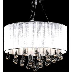vidaXL Chandelier with 85 Crystals White