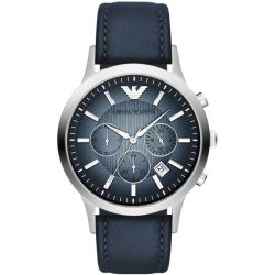Emporio Armani Stainless Steel Blue Dial Chronograph Blue Strap Watch AR2473