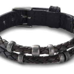 Fossil Men Leather Bracelet Black One size