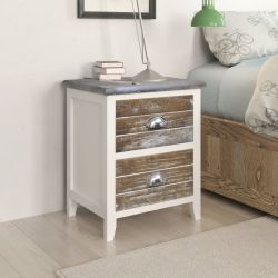 vidaXL Nightstand 2 pcs with 2 Drawers Brown and White