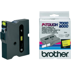 Original Brother P Touch TX641 18mm Gloss Tape Black on Yellow