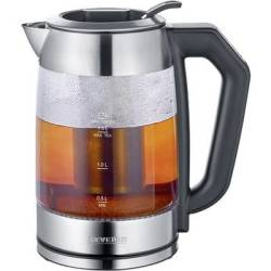 Severin WK 3477 Kettle cordless Glass Stainless steel (brushed) Black