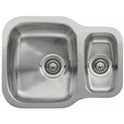 Reginox Nebraska Undermount Stainless Steel 1.5 Bowl Kitchen Sink with Wastes Included