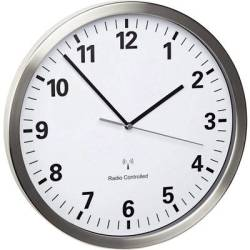 TFA Dostmann 60.3523.02 Radio Wall clock 30.5 cm x 4.3 cm Stainless steel Noiseless movement Energy saving mode