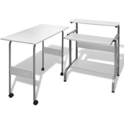 vidaXL 2 Piece Computer Desk with Pull out Keyboard Tray White