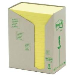 Post it Note Recycled Tower Pack 76x127mm Pastel Yellow Ref 655 1T