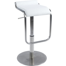 Amadeo White Stainless Steel Gas Lift Bar Stool