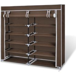 vidaXL Fabric Shoe Cabinet with Cover 115 x 28 x 110 cm Brown