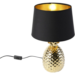 Art Deco Table Lamp Gold with Black and Gold Shade Pina