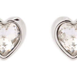Ladies Ted Baker Silver Plated Crystal Heart Stud Earrings TBJ1654 01 02
