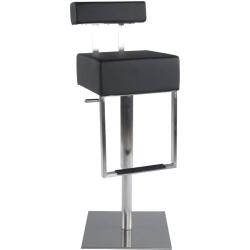 Bruna Black Stainless Steel Gas Lift Bar Stool