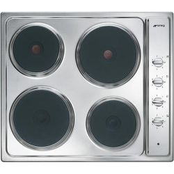 SMEG Cucina SE435S Electric Solid Plate Hob Stainless Steel Stainless Steel