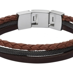 Fossil Men Retro Pilot Multi Strand Cuff Brown One size