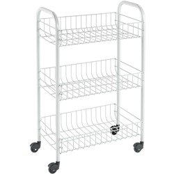 Metaltex Kitchen Trolley with 3 Baskets Siena White