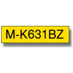 Original Brother P Touch MK631BZ 12mm Plastic Tape Black on Yellow