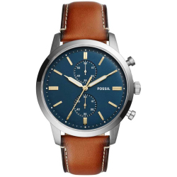 Fossil Men Townsman 44Mm Chronograph Luggage Leather Watch Brown One size