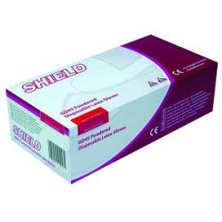 Shield Powdered Natural Medium Latex Gloves Pack of 100 GD45