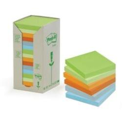 Post it Notes Recycled 76 x 76mm Pastel Rainbow Pack of 16 654 1RPT