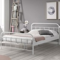 Boston Metal Double Bed in White