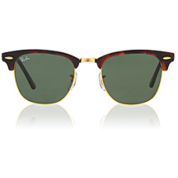 Ray Ban Sunglasses 3016 Clubmaster W0366 51mm Tortoise Arista Gold G 15XLT NEW