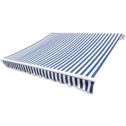 vidaXL Awning Top Sunshade Canvas Blue White 3 x 2 5m (Frame Not Included)