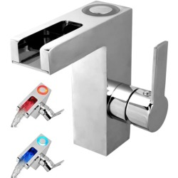 SCHÜTTE LED Basin Mixer Tap with Waterfall Spout ORINOCO Chrome