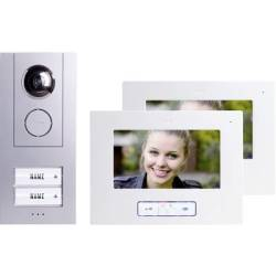 m e modern electronics Vistus VD 6720 Video door intercom Corded Complete kit Semi detached Silver White
