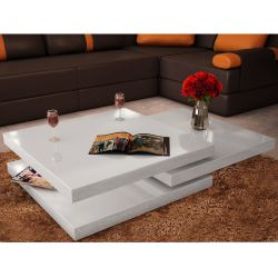 vidaXL Coffee Table 3 Tiers High Gloss White