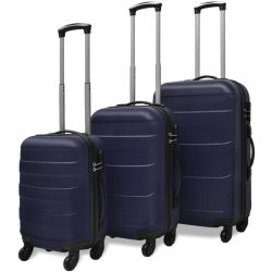 vidaXL Three Piece Hardcase Trolley Set Blue