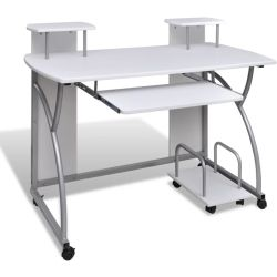 vidaXL Computer Desk with Pull out Keyboard Tray White