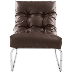 Lindau Brown Faux Leather Lounge Armchair
