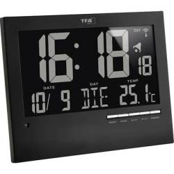 TFA Dostmann 60.4508 Radio Wall clock 185 mm x 230 mm x 31 mm Black