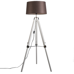 Country floor lamp white with brown linen shade Tripod