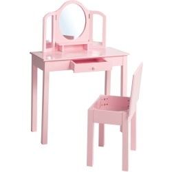 roba Kids Dressing Table with Stool Pink 68x32x106 cm Wood