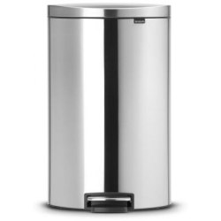 Brabantia FlatBack Space Saving Pedal Bin 40 Litre Matt Steel Fingerprint Proof