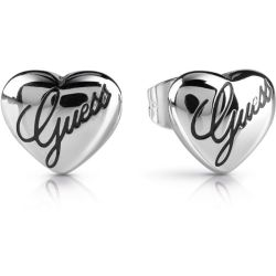 GUESS rhodium plated heart stud earrings with engraved logo script.