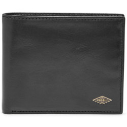 Fossil Men Ryan Rfid Large Coin Pocket Bifold Black One size