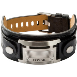 Fossil Men Large Black Id Cuff One size