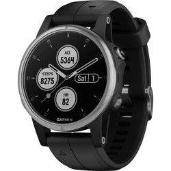 Garmin Fenix 5S Plus Compact Multisport Watch With Music Maps And Garmin Pay Silver With Black Band