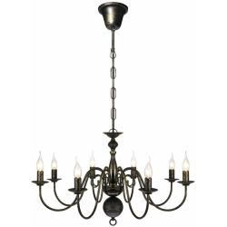 vidaXL Antique Black Metal Chandelier 8 x E14 Bulbs